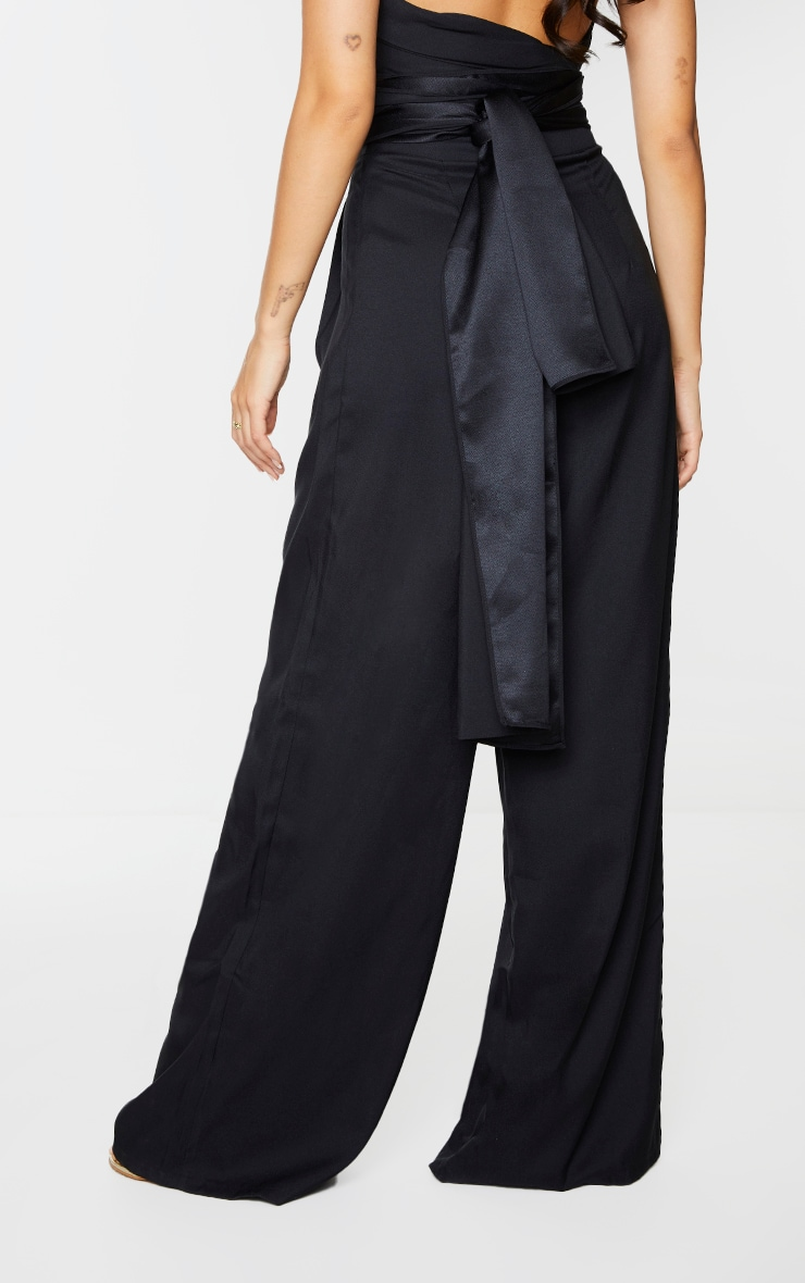 Black Woven Pleated Front Wide Leg Pants 3