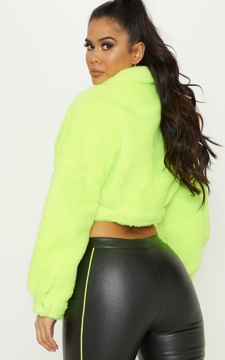 Neon Green Borg Cropped Trucker Jacket  2