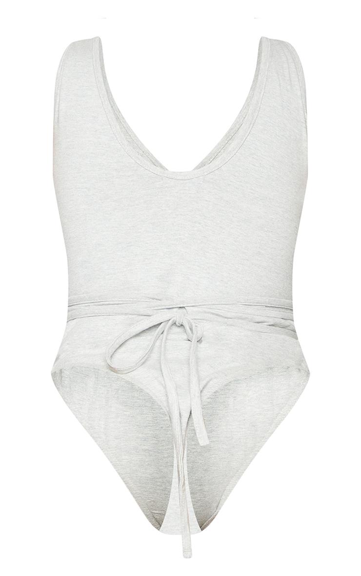 Shape Grey Cotton Plunge Wrap Detail Bodysuit 6