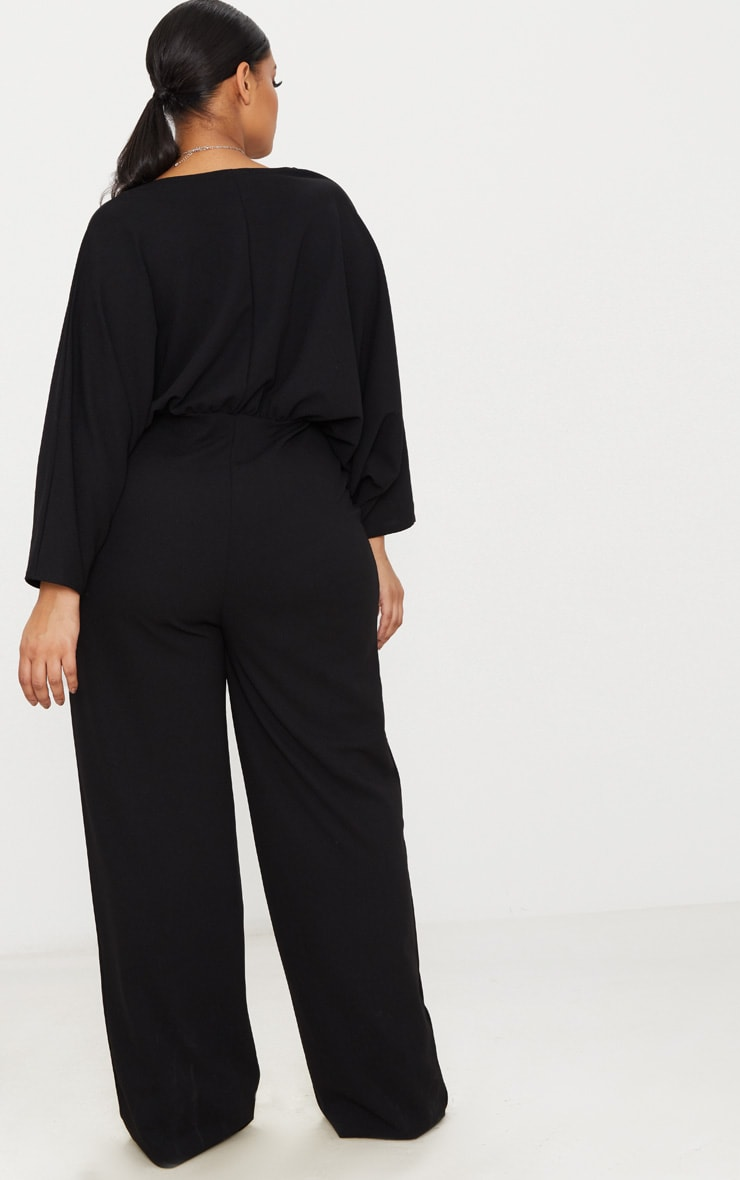 Plus Black Crepe Batwing Cut Out Jumpsuit 2
