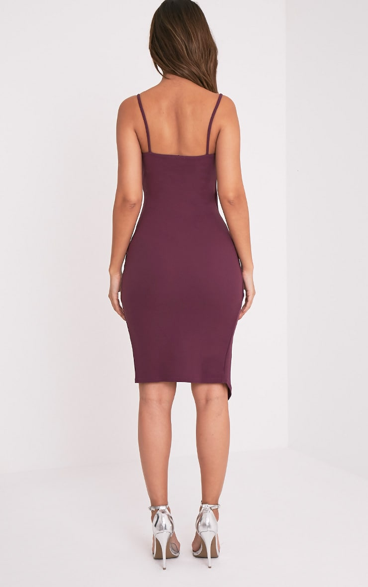 Lauriell Aubergine Wrap Front Crepe Midi Dress 3