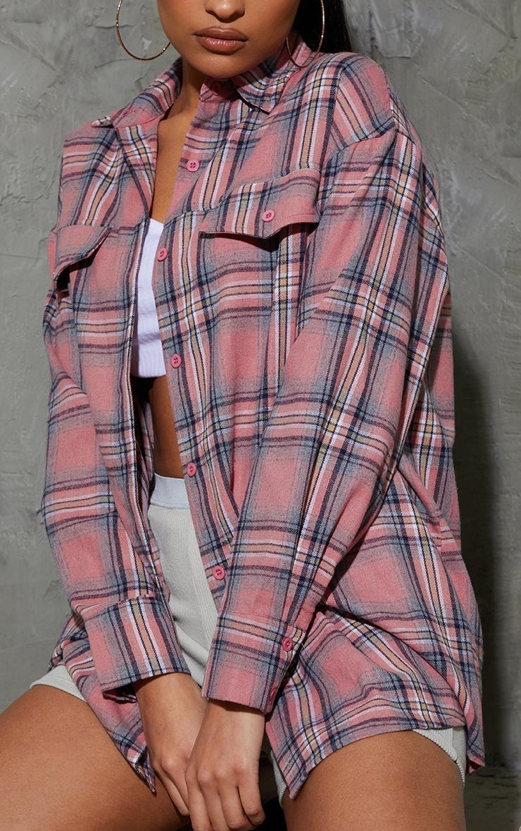 Blush Tartan Checked Flannel Pocket Detail Oversized Shirt 4