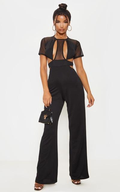 Black Mesh Short Sleeve Cut Out Jumpsuit
