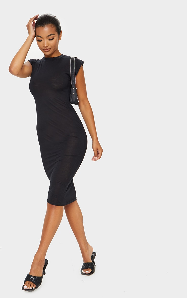 Black Sheer Cap Sleeve Midi Dress 3