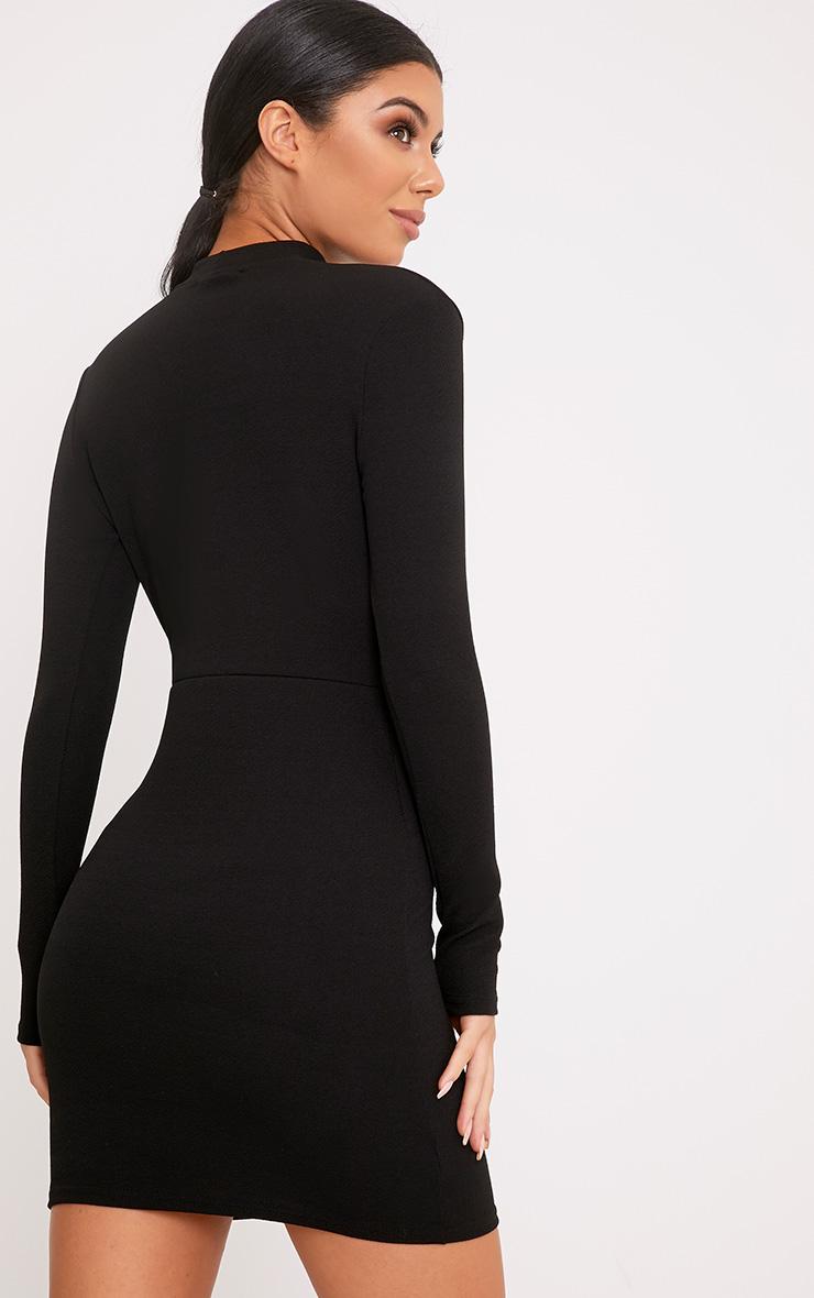 Gia Black Lace Trim Choker Neck Bodycon Dress 2