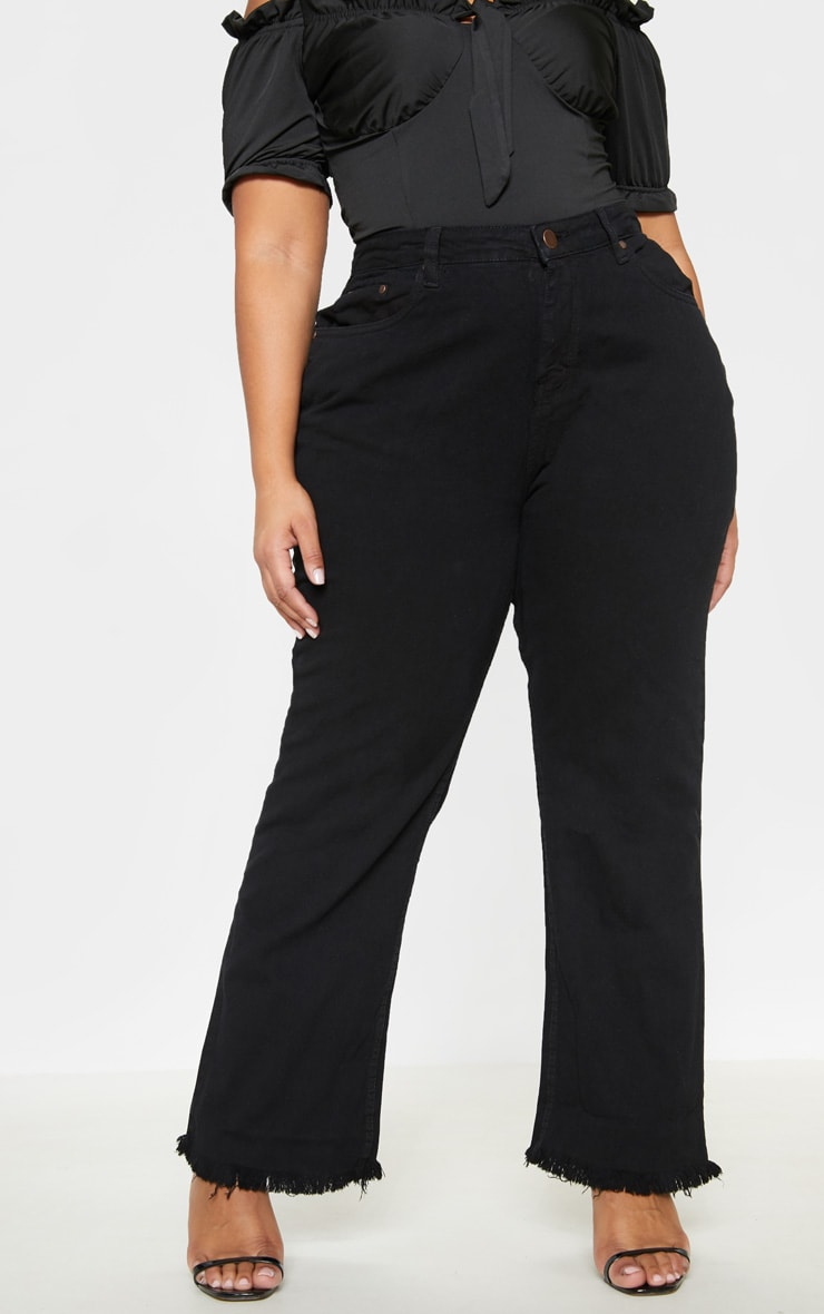 Plus Black Fray Hem Wide Leg Jean  2