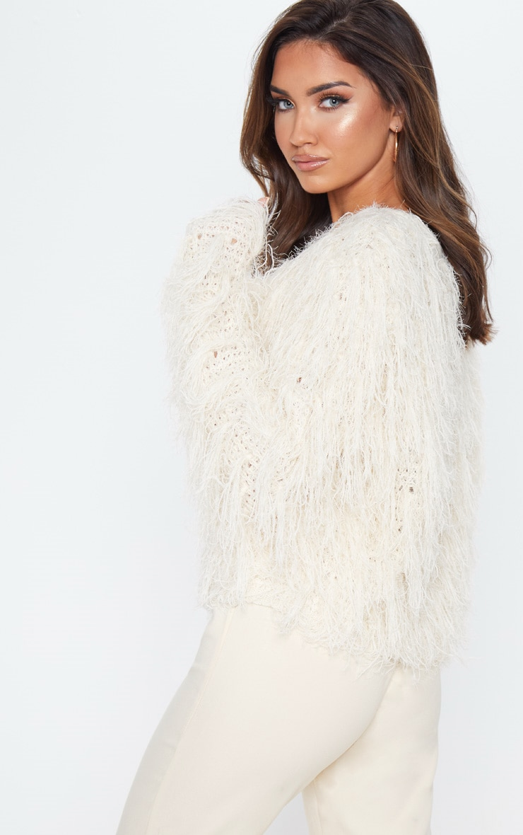 Stone Fluffy Knit Cropped Jumper 2