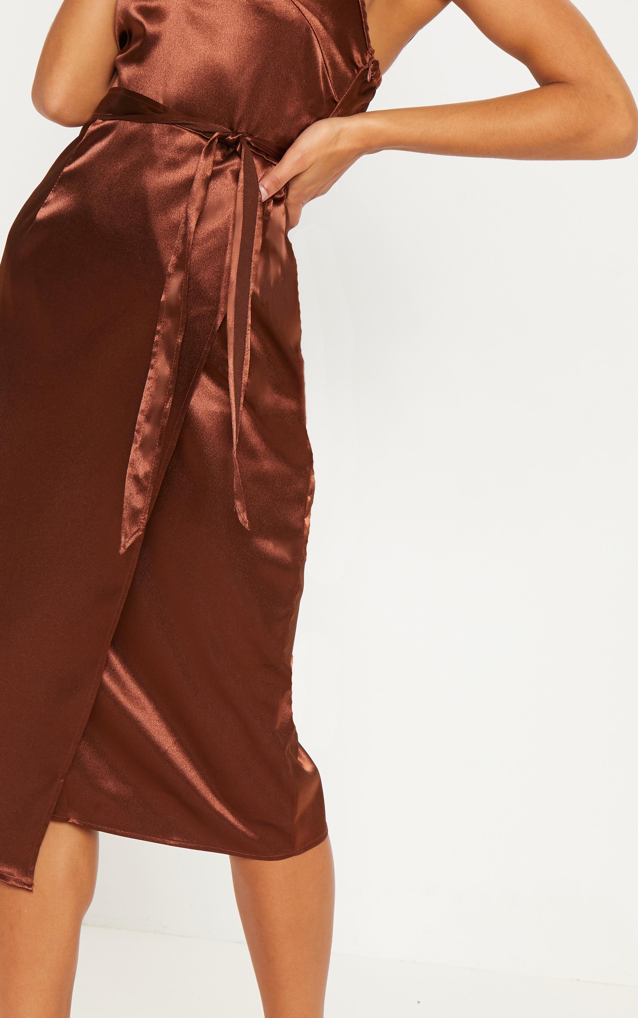 Chocolate Wrap Slip Dress 4