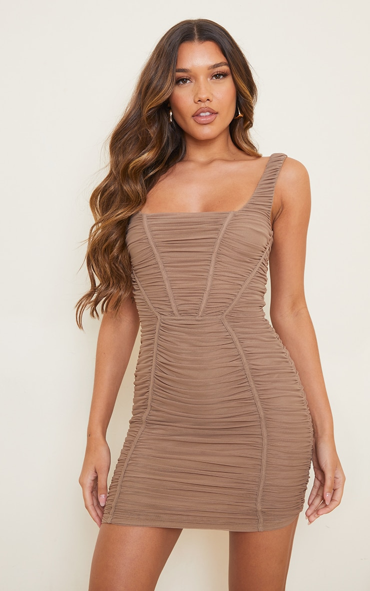 Taupe Square Neck Mesh Ruched Binding Detail Bodycon Dress 1