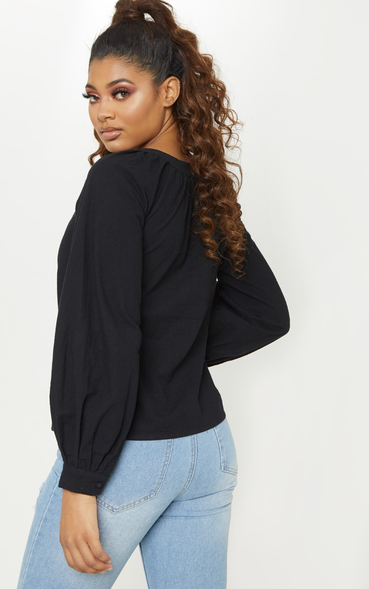 Tall Black Woven Button Front Puff Sleeve Top 2