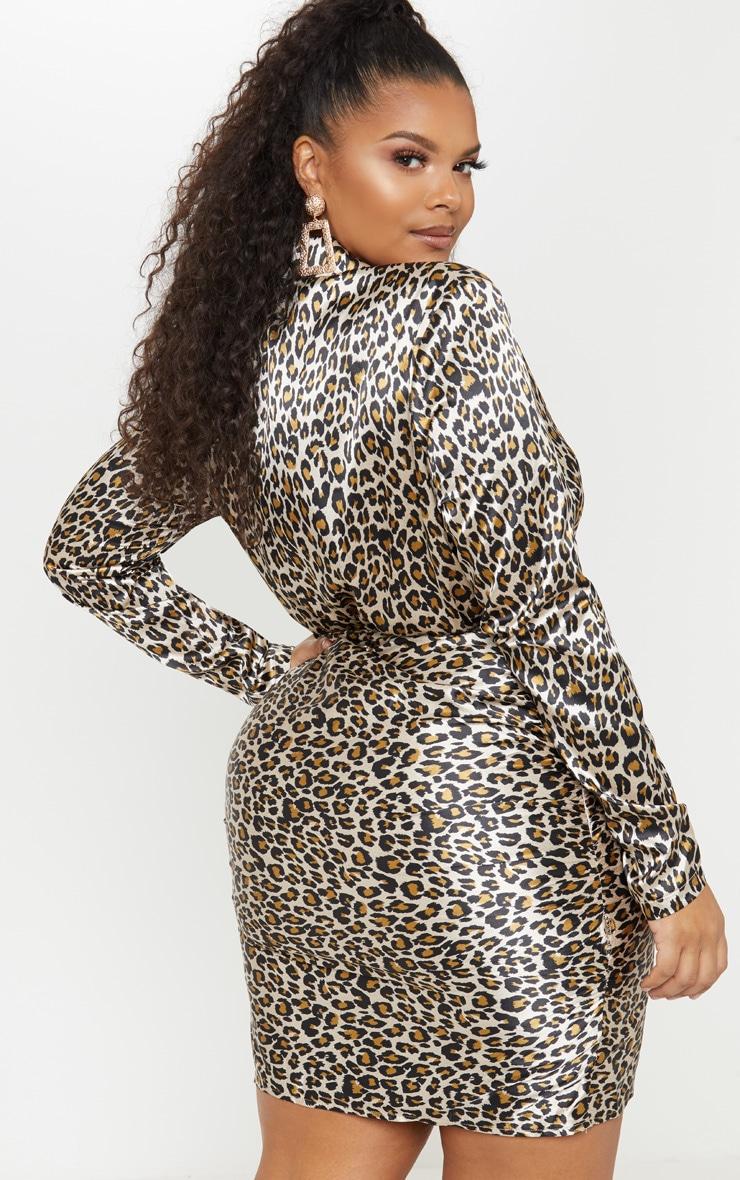 Plus Tan Leopard Print Ruched Skirt Shirt Dress 2