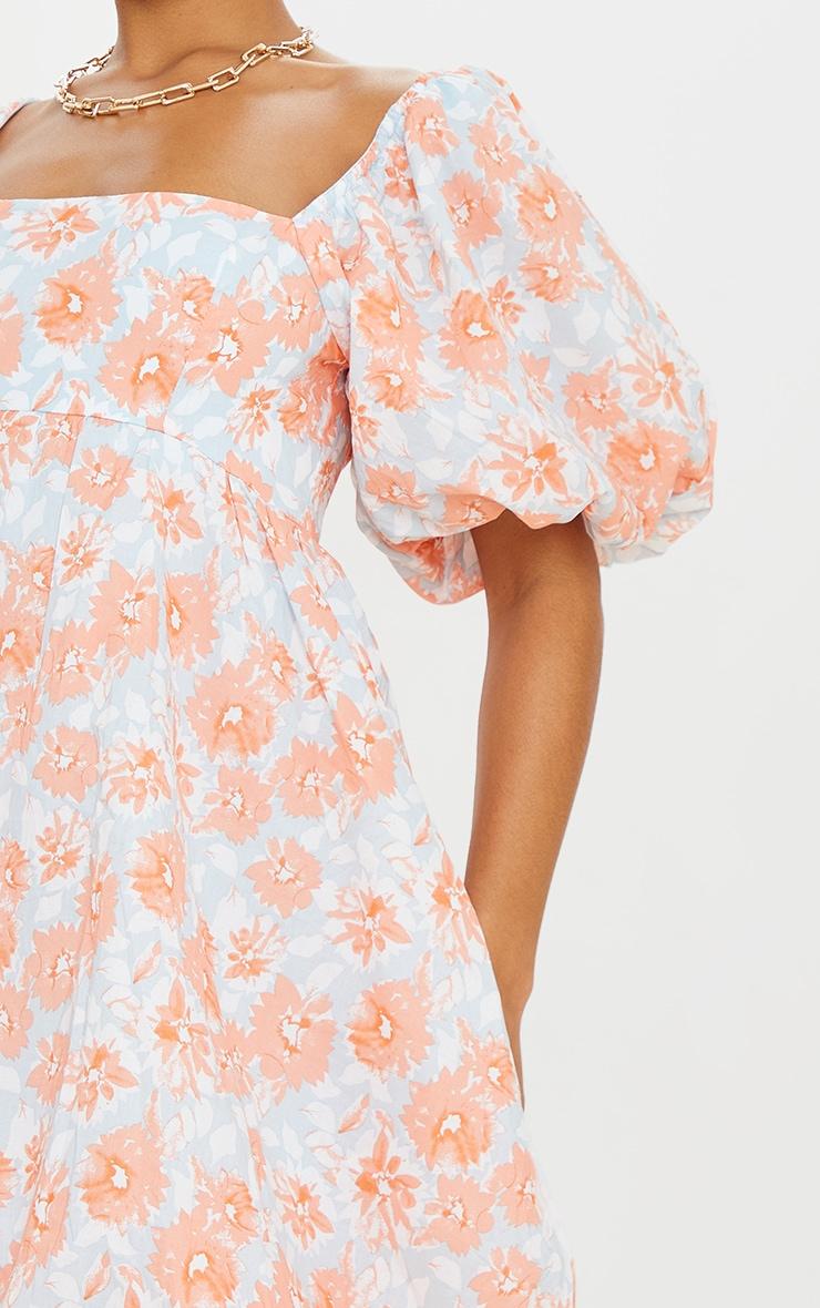 Peach Floral Print Puff Sleeve Puffball Dress 4