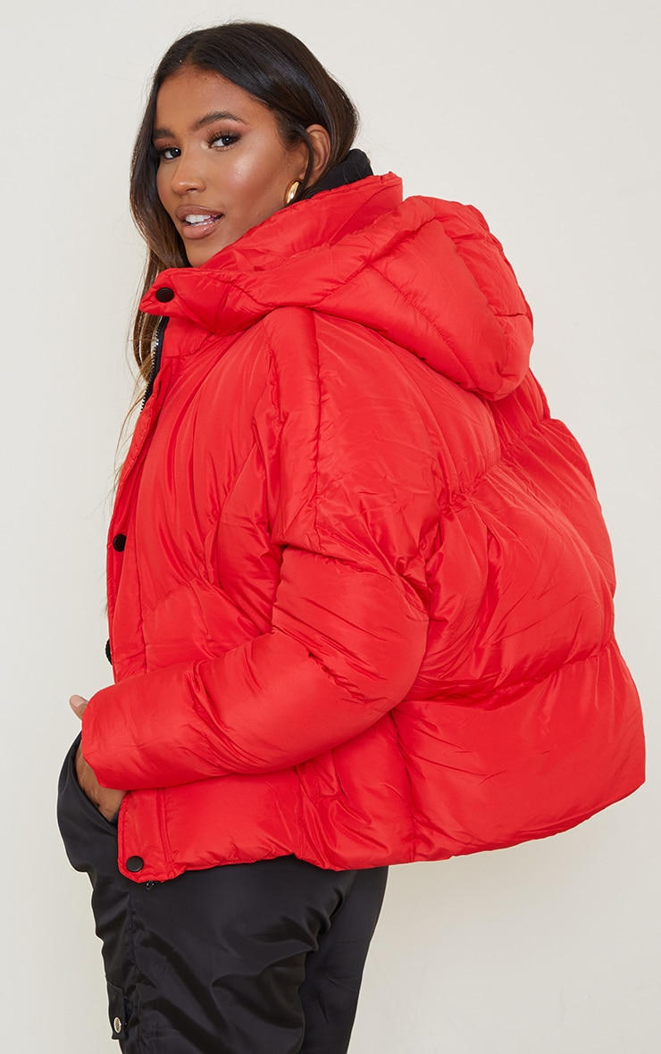 Red Nylon Oversized Curved Panel Wadded Puffer Jacket 1