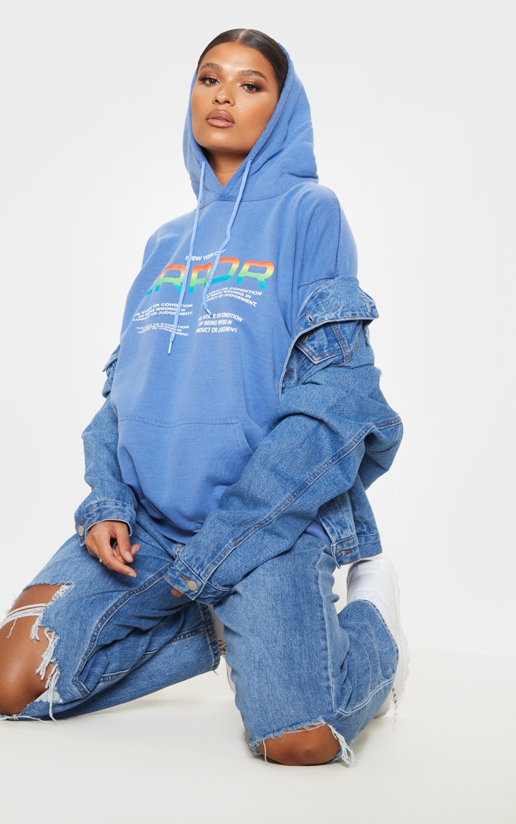 Washed Blue Error Slogan Oversized Hoodie 4