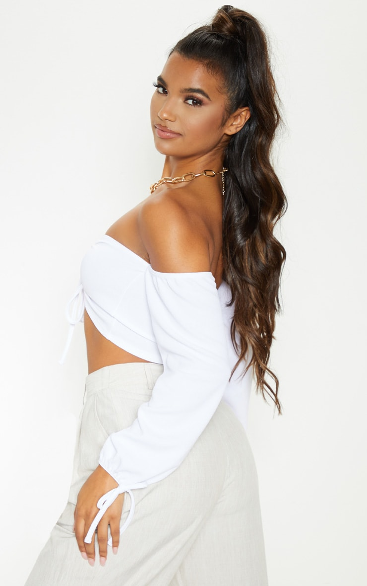 White Ruched Detail Bardot Long Sleeve Crop Top 2