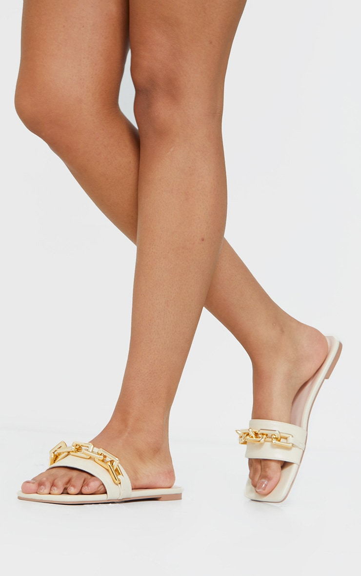 Cream Square Toe Chain Detail Faux Leather Mule Flat Sandal 2