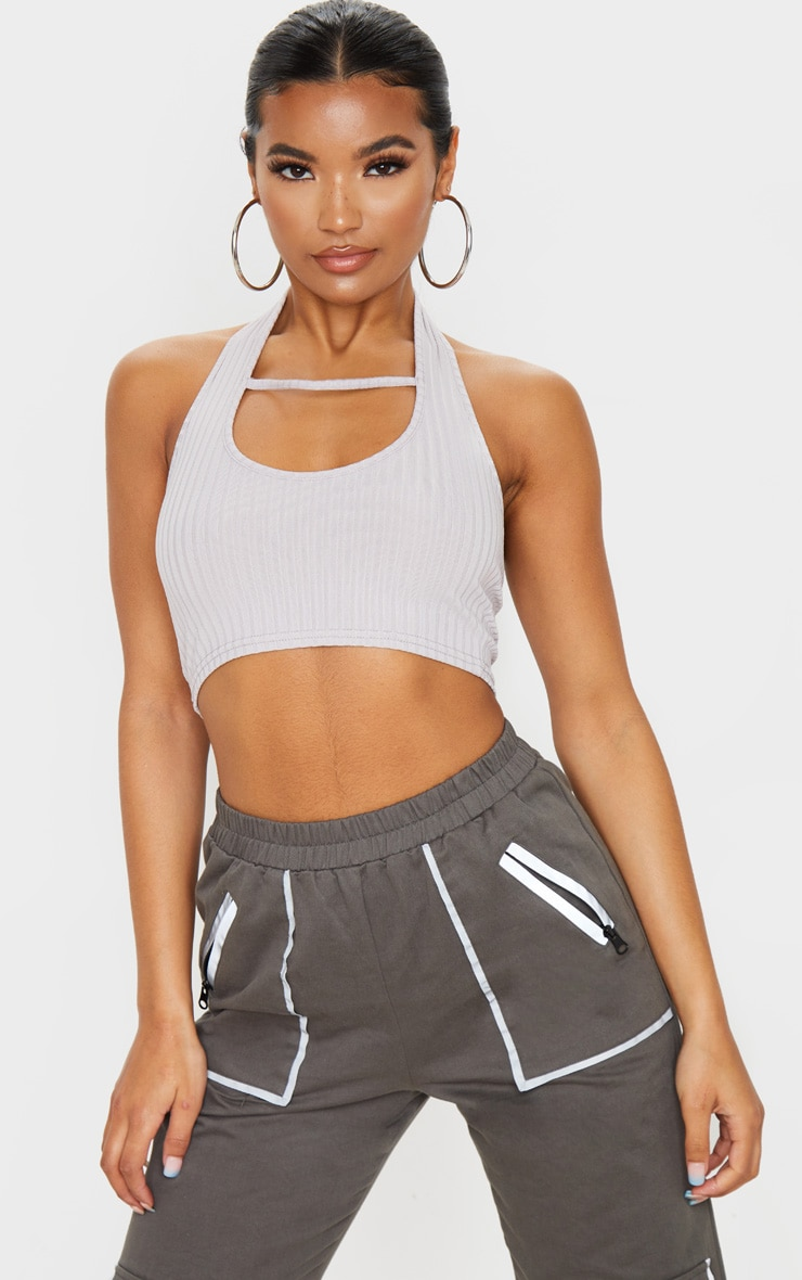 Grey Rib Halterneck Cut Out Sleeveless Crop Top 1