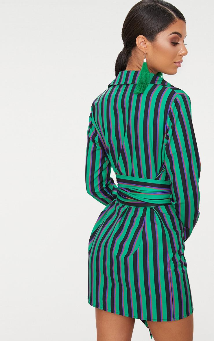 Green Stripe Tie Waist Shirt Dress 2