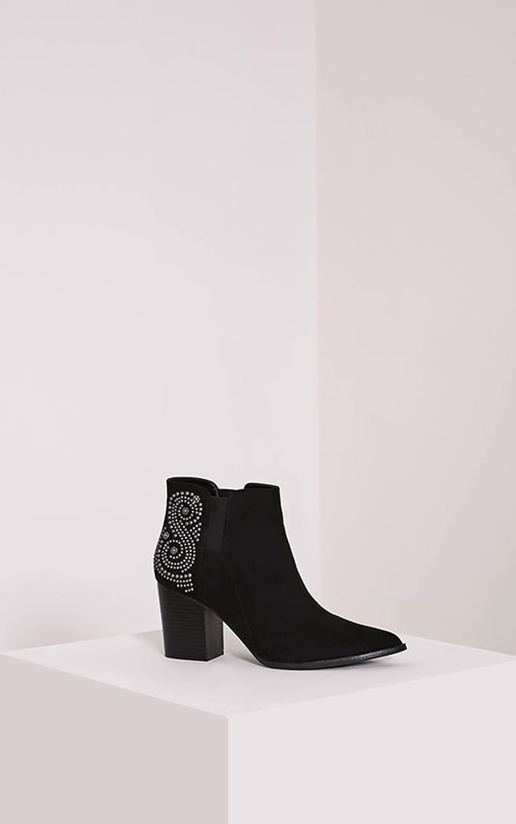 Willow Black Faux Suede Studded Ankle Boots 3