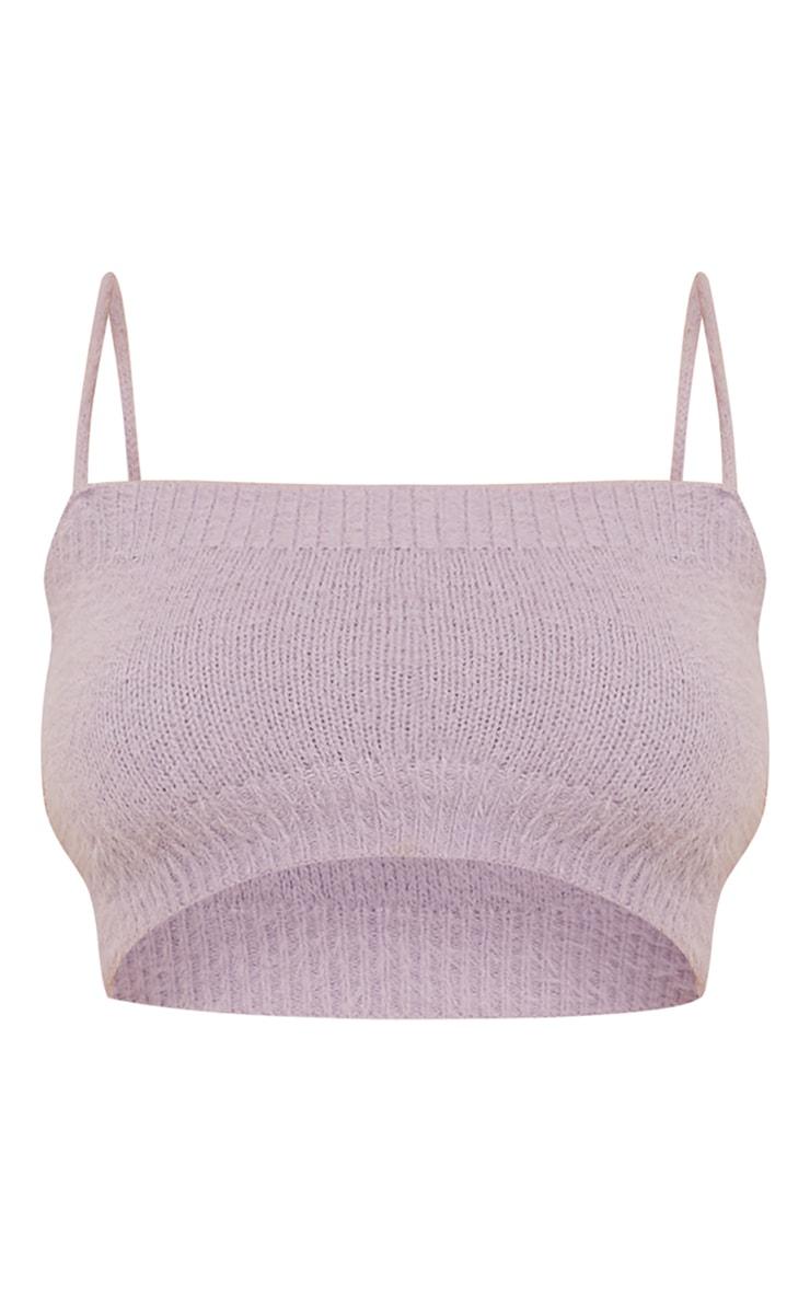 Lilac Eyelash Knit Cropped Cami 5