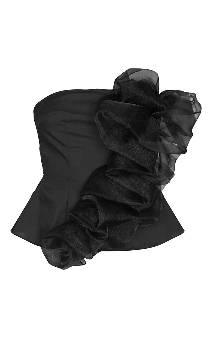 Black Organza Frill Detail Long Top 5
