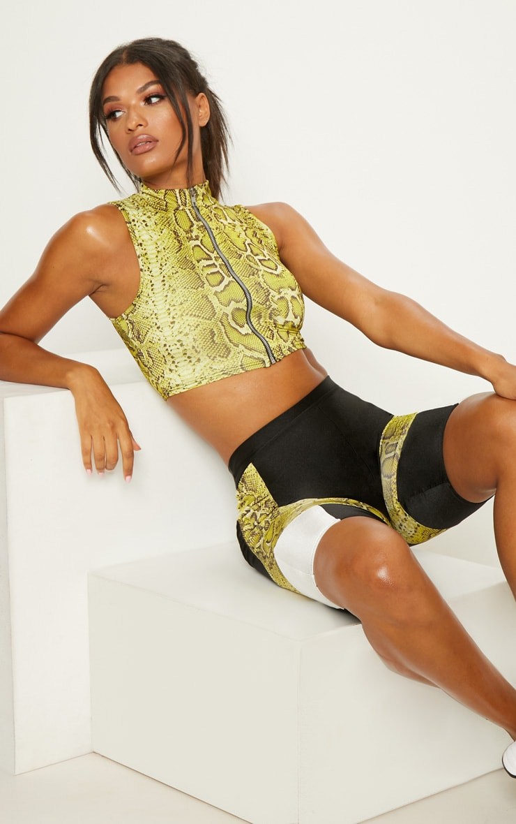 Lime Snake Zip Through Crop Top