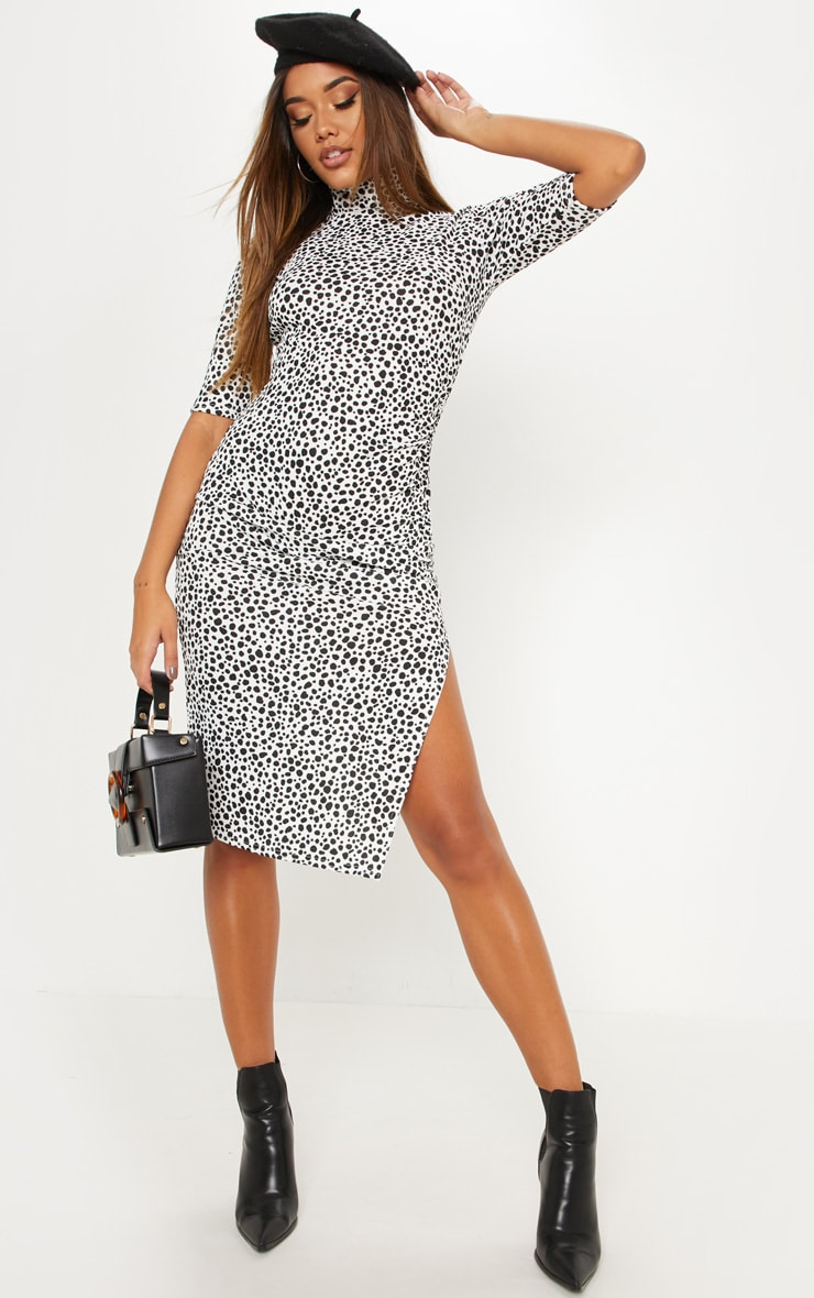 White Dalmatian Print High Neck Ruched Midi Dress