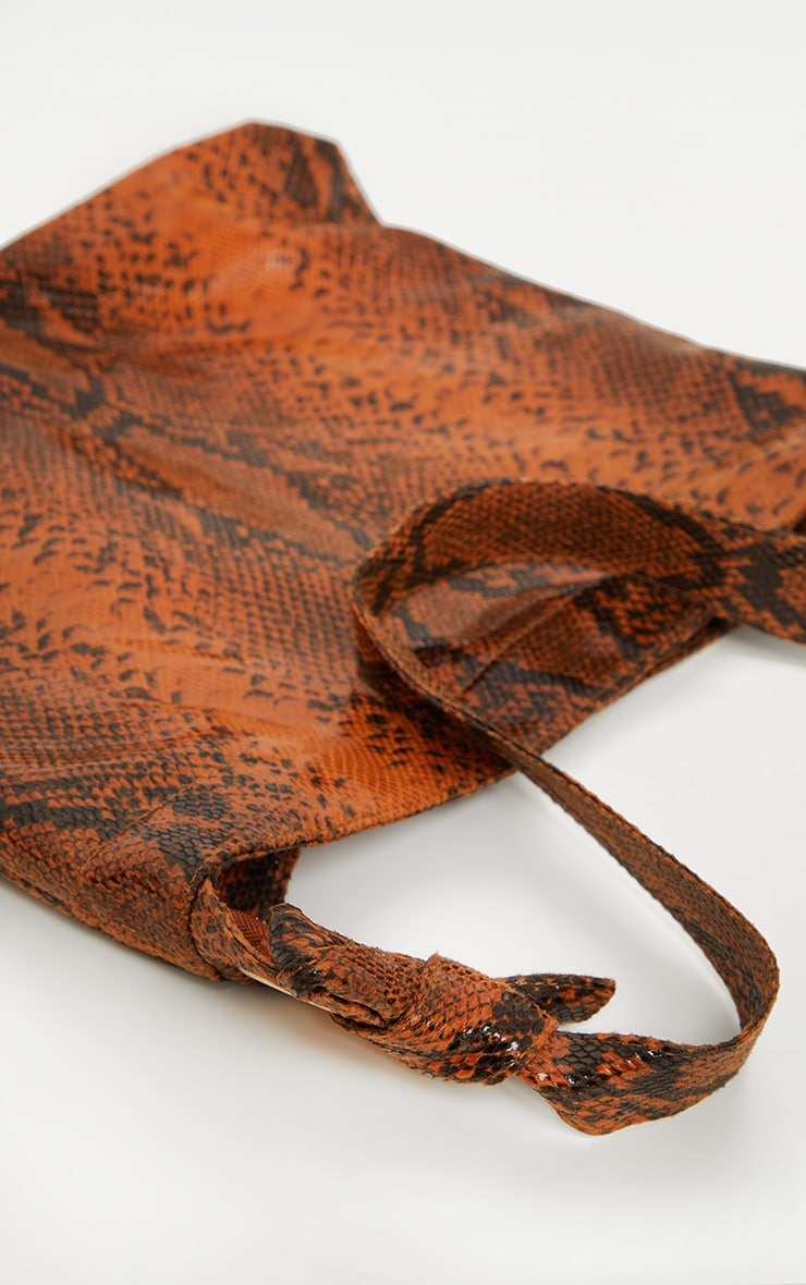 Brown Snake Relaxed Shoulder Bag 2