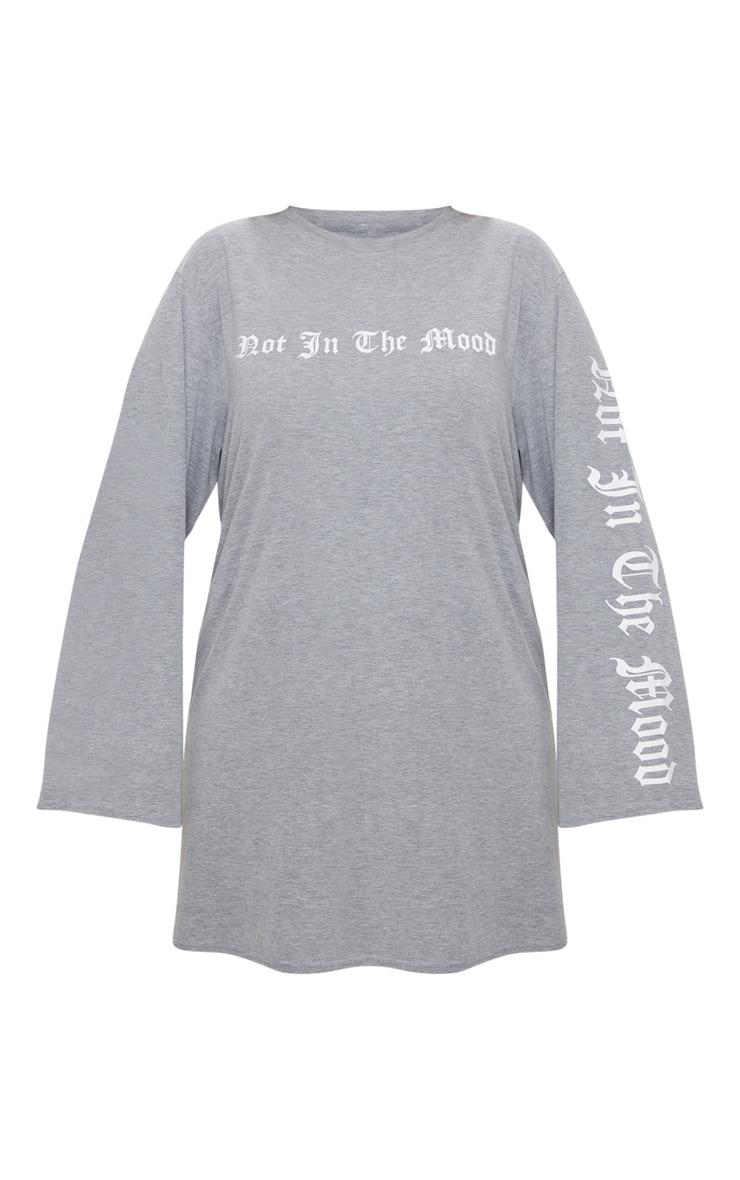 Plus Grey Marl Oversized Slogan T-Shirt Dress 3