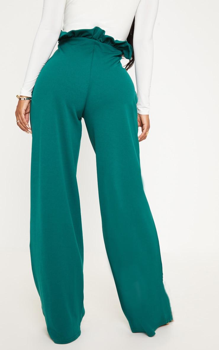 Shape Emerald Green High Waist Paperbag Wide Leg Trouser 4