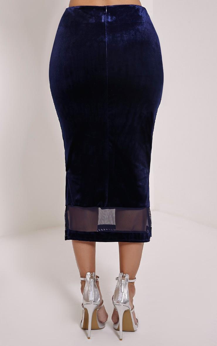 Jem Navy Floral Stitch Midi Skirt 3