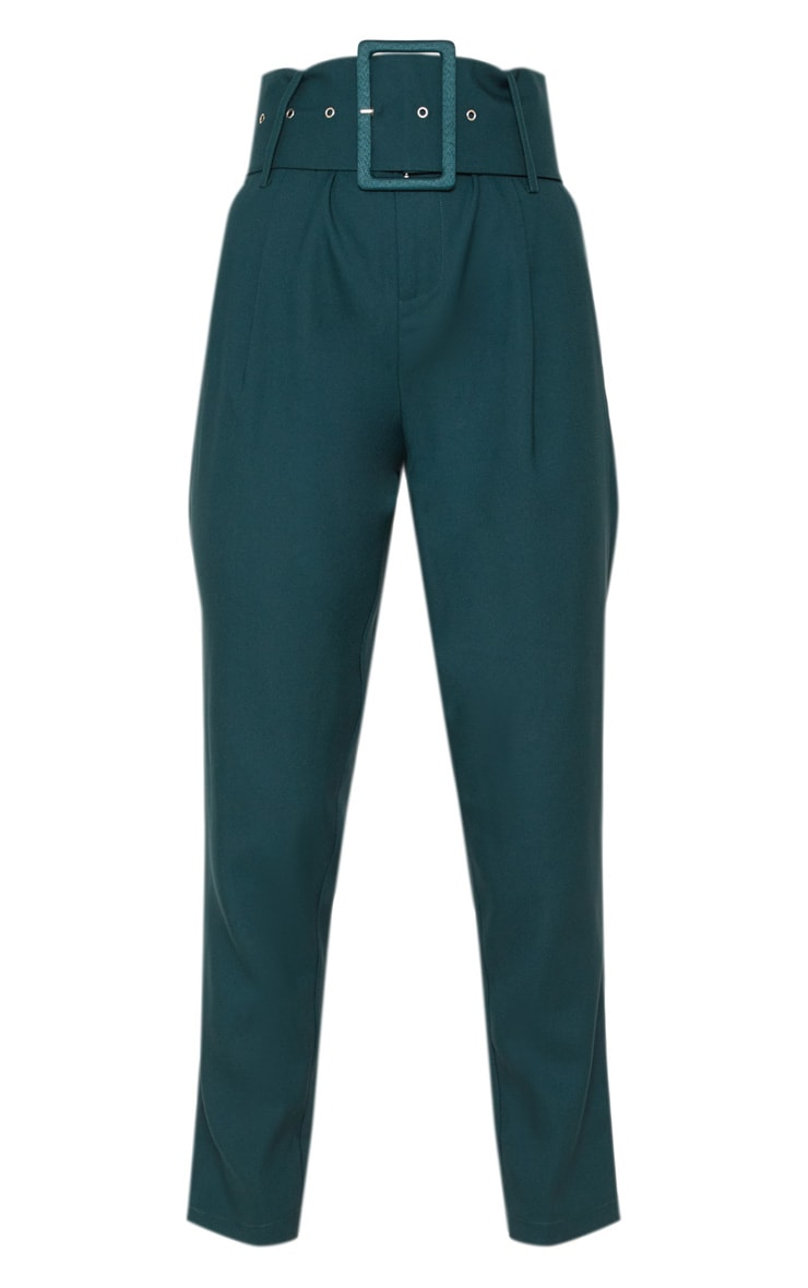 Emerald Green Super High Waisted Belted Tapered Trouser 3