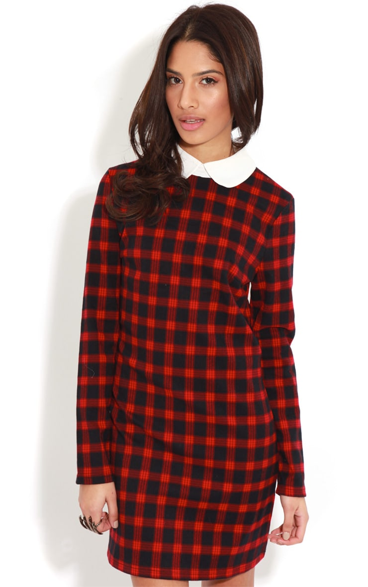 Angelina Long Sleeved Tartan Collar Dress 1