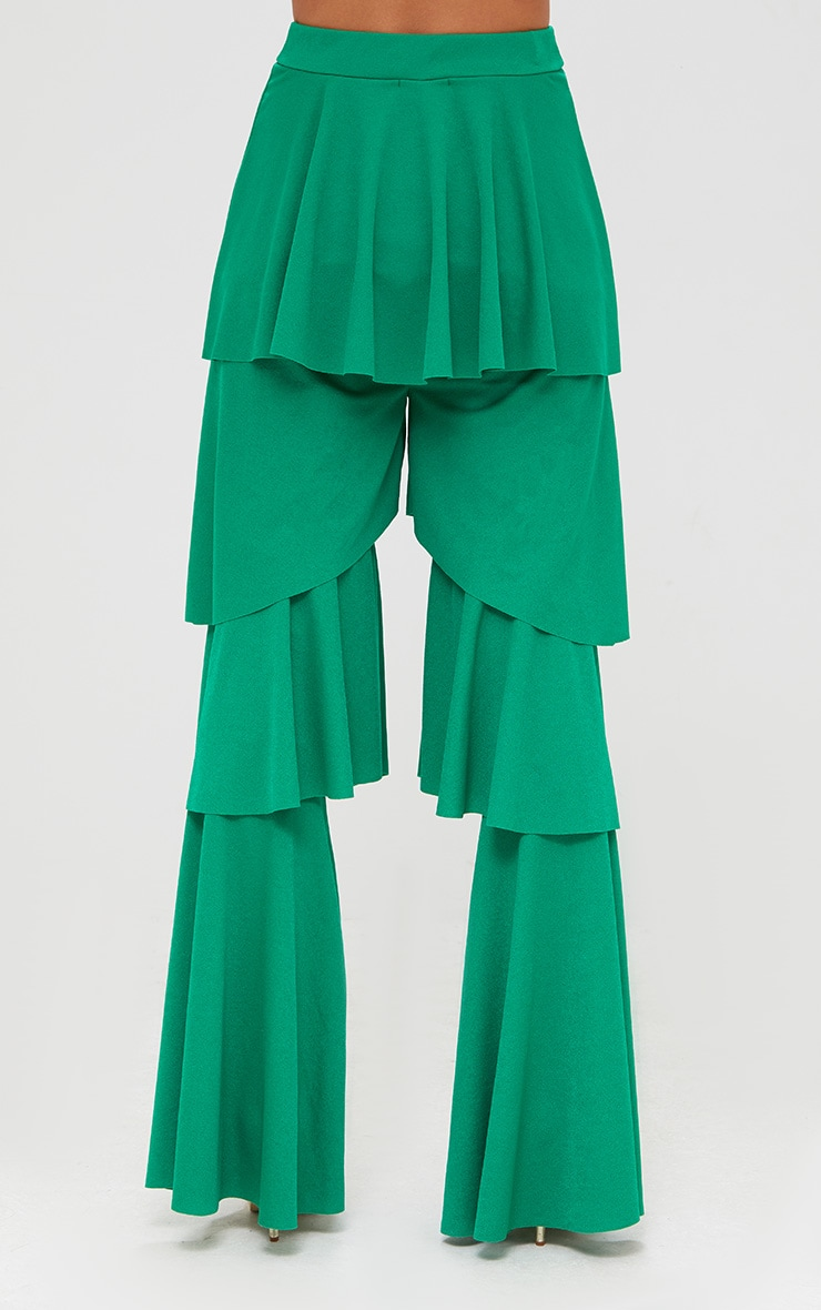 Green Tiered Frill Wide Leg Trousers 4