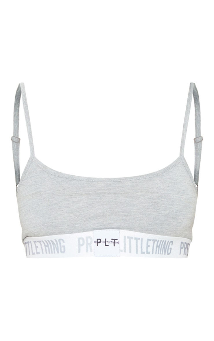 PRETTYLITTLETHING Grey Strappy Bralet 3