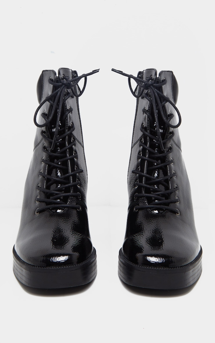 Black Square Toe Chunky Lace Up Ankle Boot 3