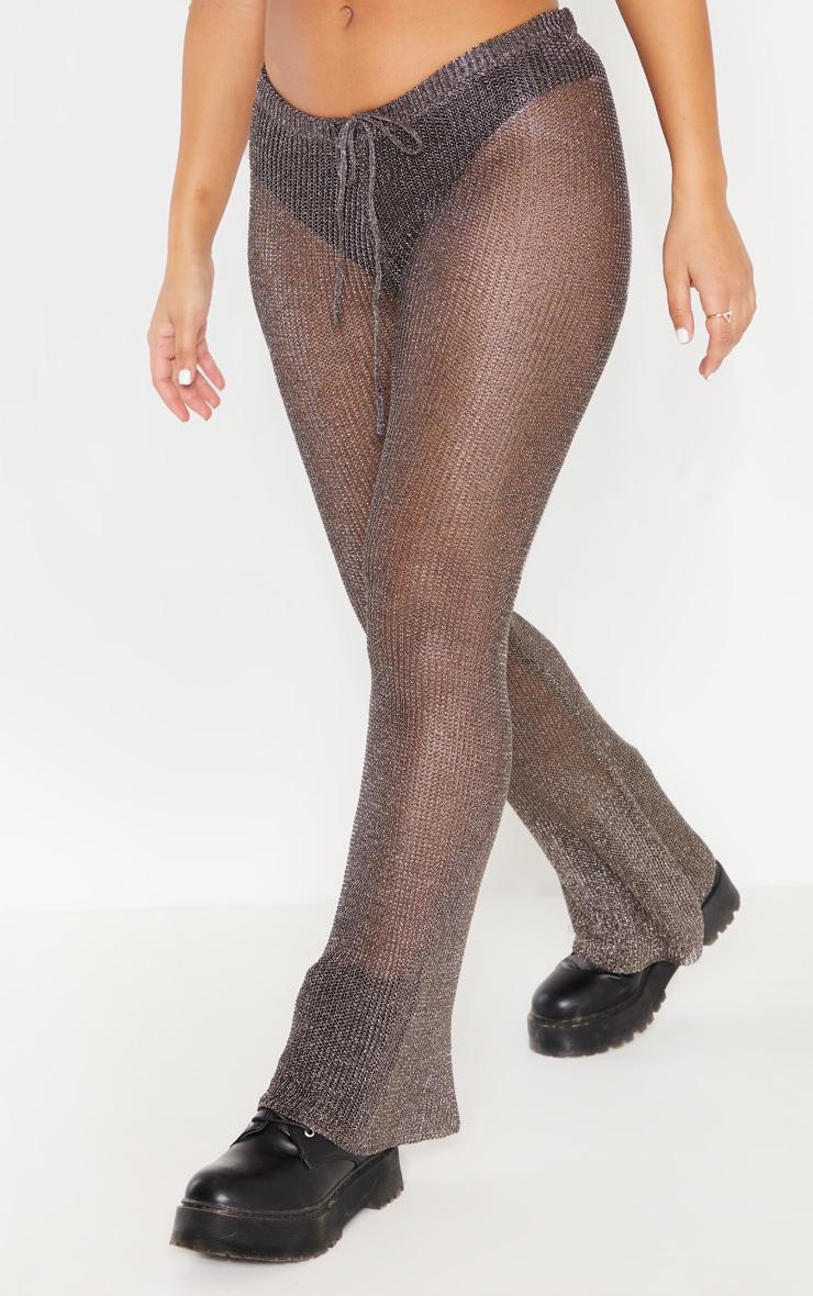 Pewter Metallic Knitted Flares 2