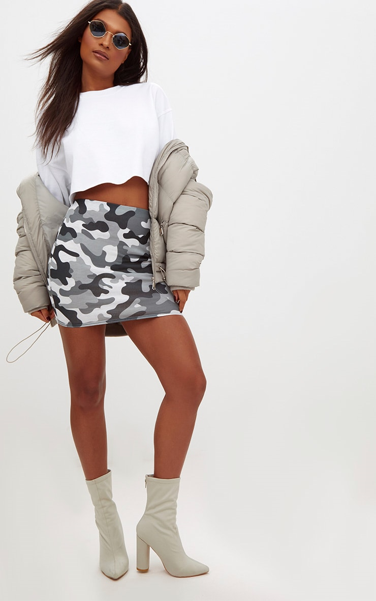 Grey Camo Print Mini Skirt 5