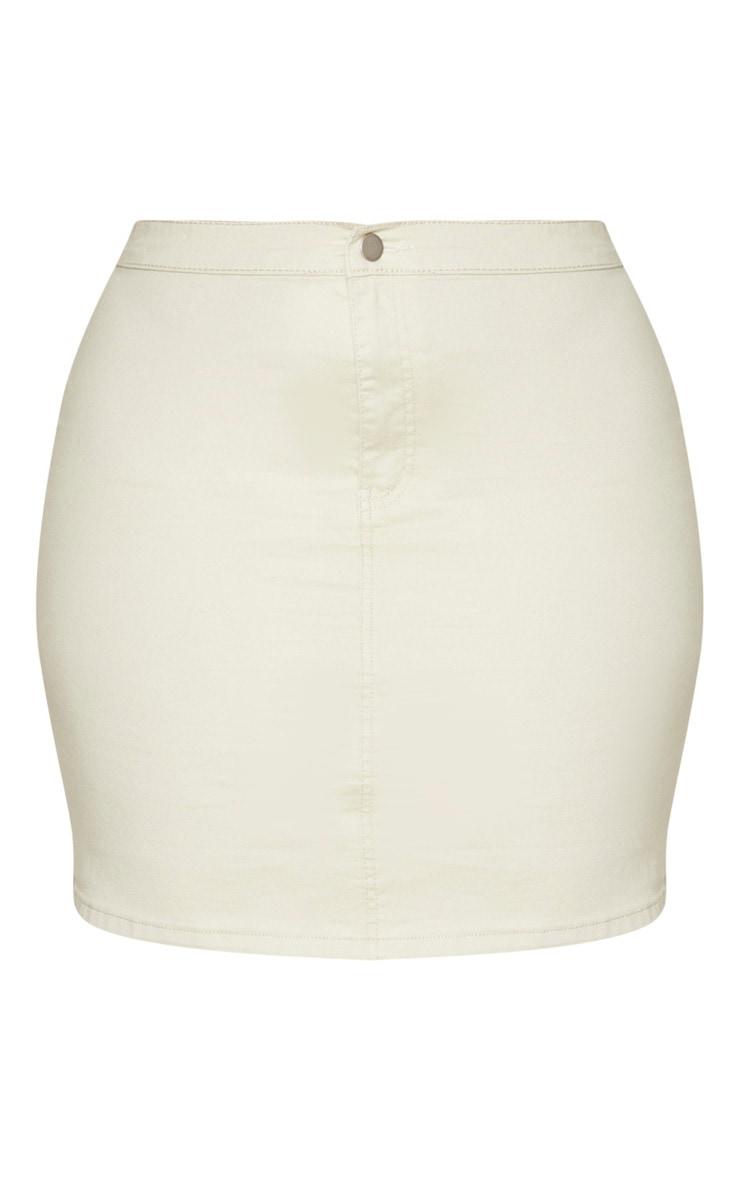 PLT Plus - Jupe en jean disco ajustée gris pierre 6