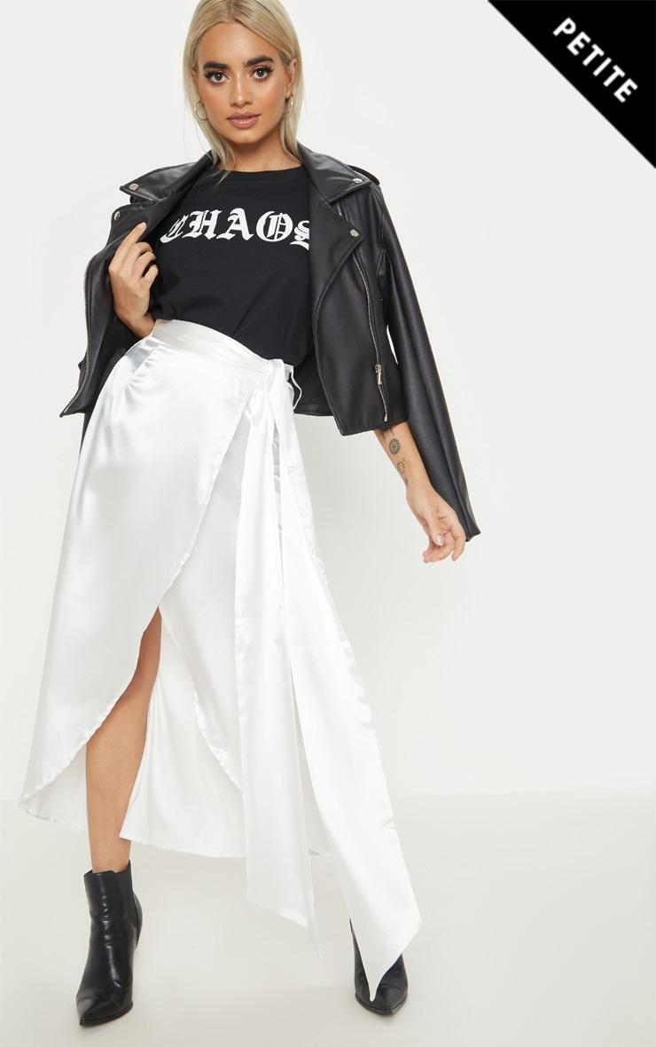 Petite White Satin Wrap Midi Skirt 1