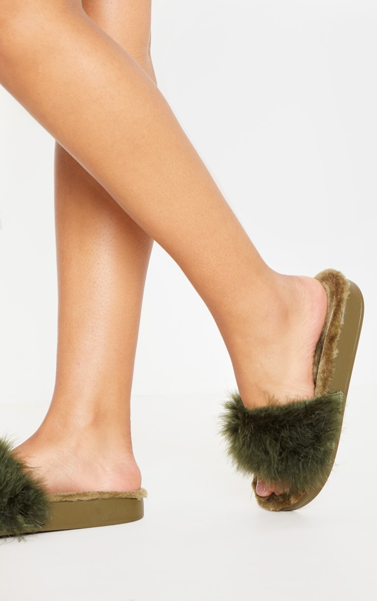 Forest Green Feather Slides 2