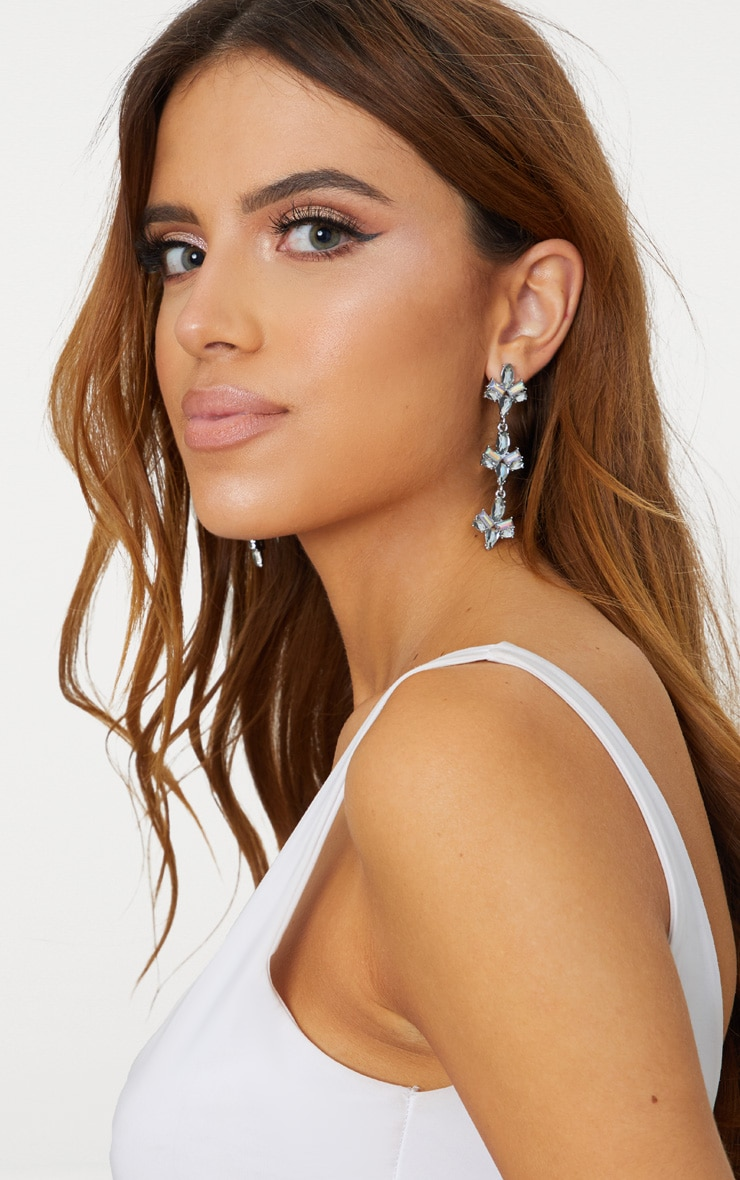 Iridescent Silver Diamante Drop Earrings 1