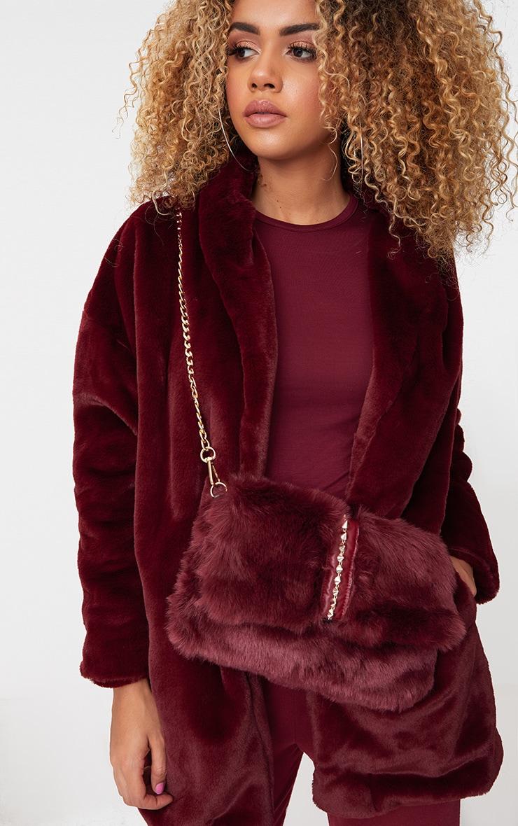 Burgundy Studded Faux Fur Foldover Clutch 1