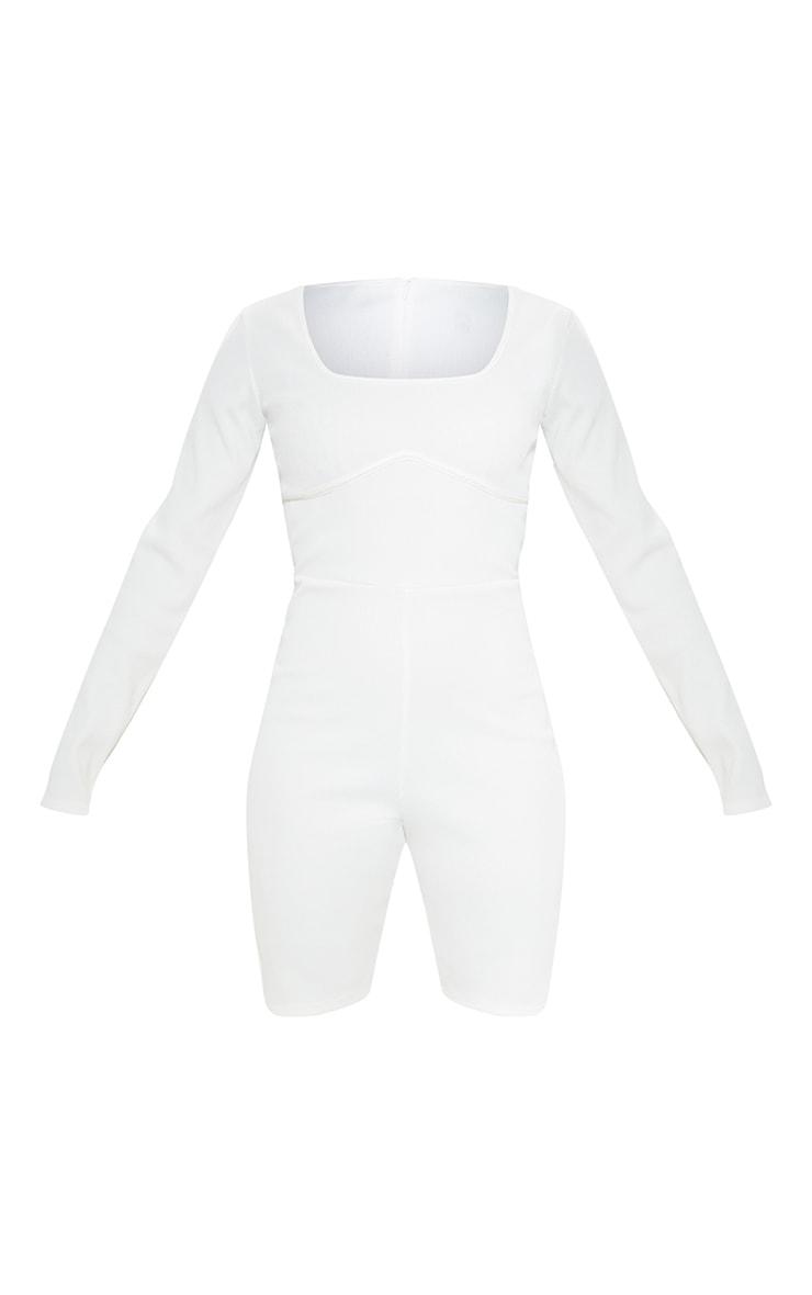 Cream Long Sleeve Ribbed Unitard 3