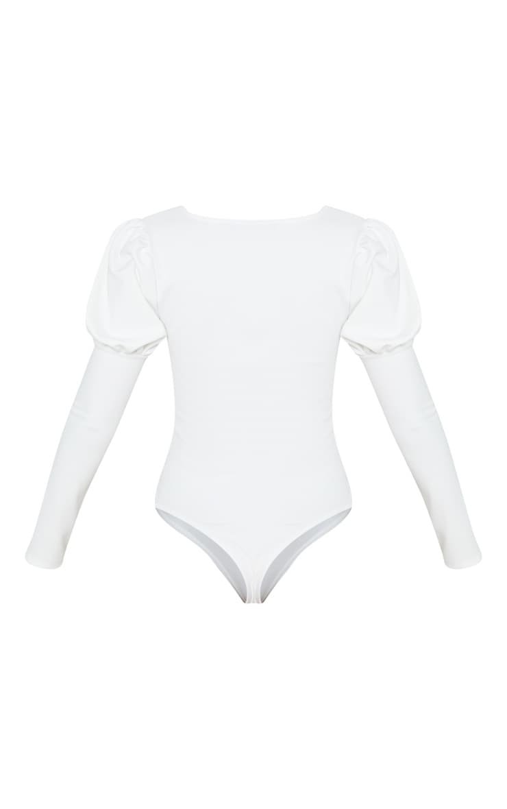 White Crepe Puff Sleeve Square Neck Bodysuit 6