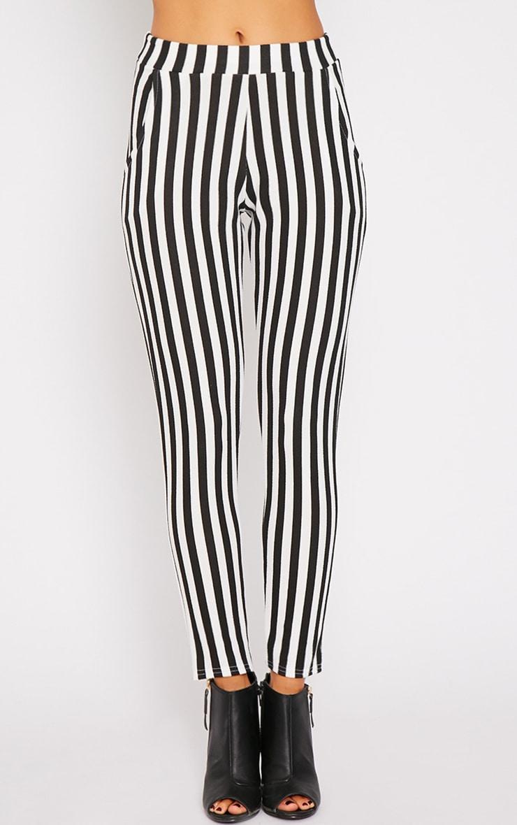 Emma Monochrome Stripe Cigarette Trousers 2