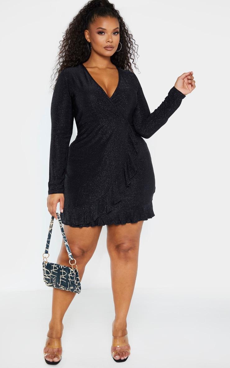 Plus Black Glitter Wrap Frill Dress 1