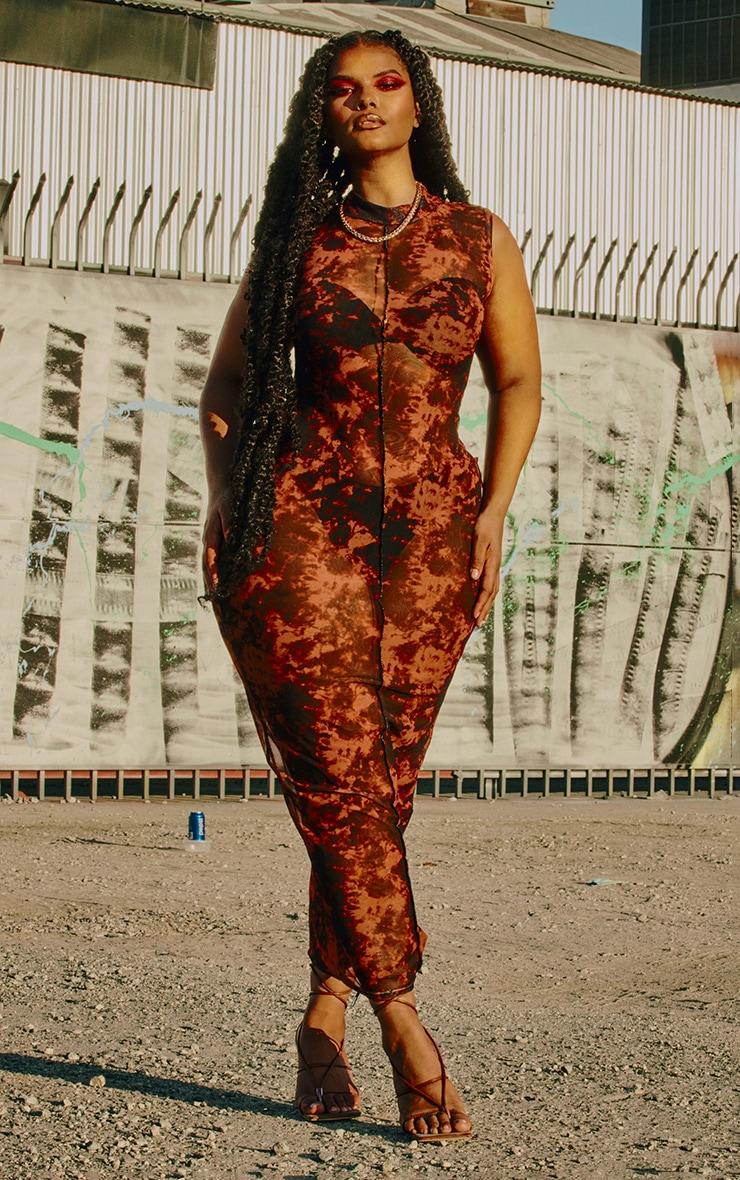 Plus Rust Tie Dye Mesh High Neck Midaxi Dress 1