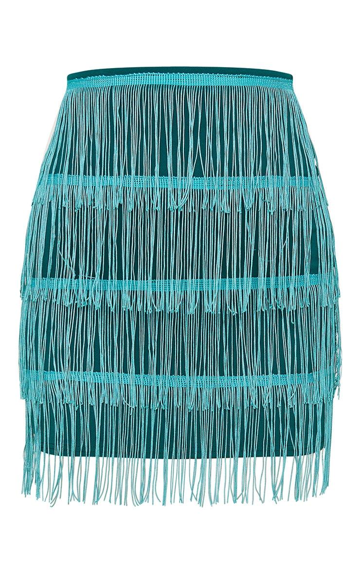 Emerald Green Tiered Fringe Mini Skirt 3