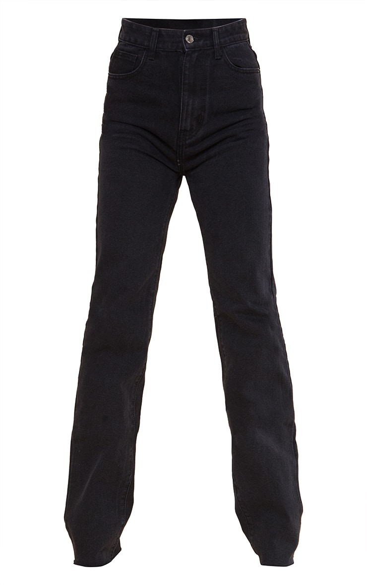 PRETTYLITTLETHING Tall Washed Black Long Leg Straight Jeans 5